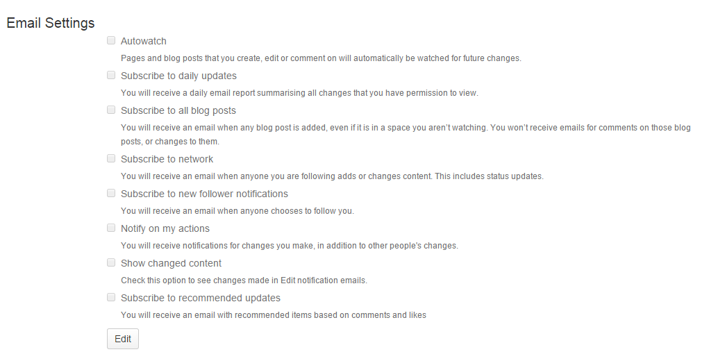 Email settings configuration page